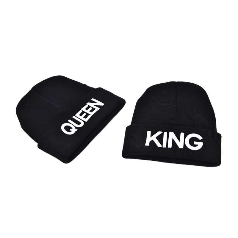 JCAAAP arrivée unisexe Couple roi reine Beanie hiver chapeaux casquette chaud hiver casquette hommes femmes tricoté Hiphop chapeau