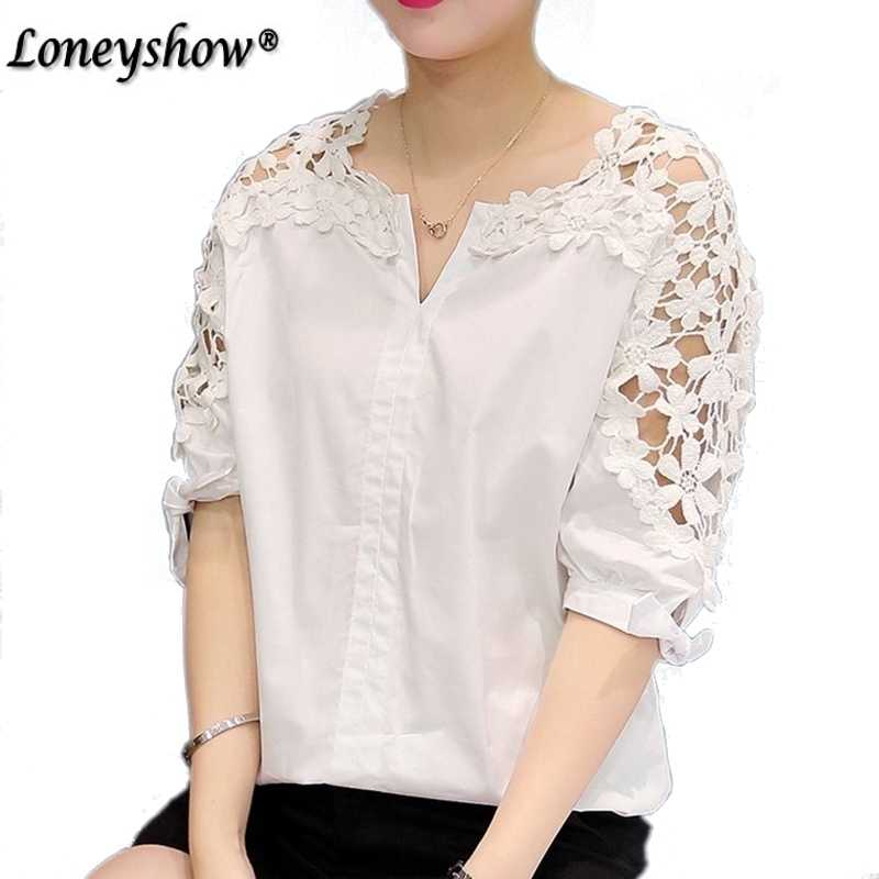 03e427f73e889 Plus Size Lace Blouses 2018 New Woman Lace Shirt Hollow Out Casual Short  Sleeve Women Shirts