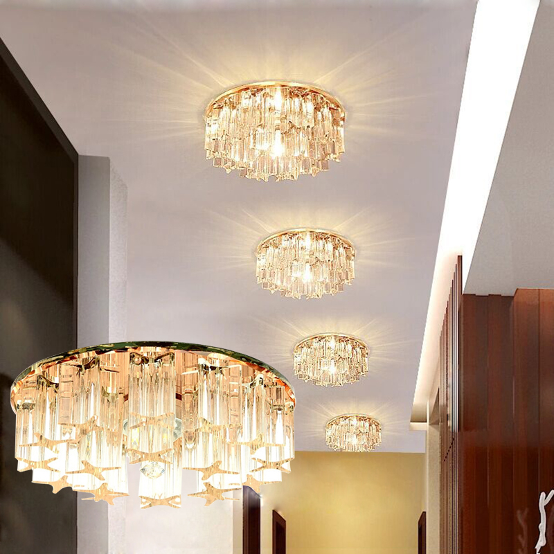 LAIMAIK Crystal LED Ceiling Light 3W 5W AC90-260V Modern LED Crystal Lamp Aisle Corridor Light Porch Hall LED Ceiling Lighting