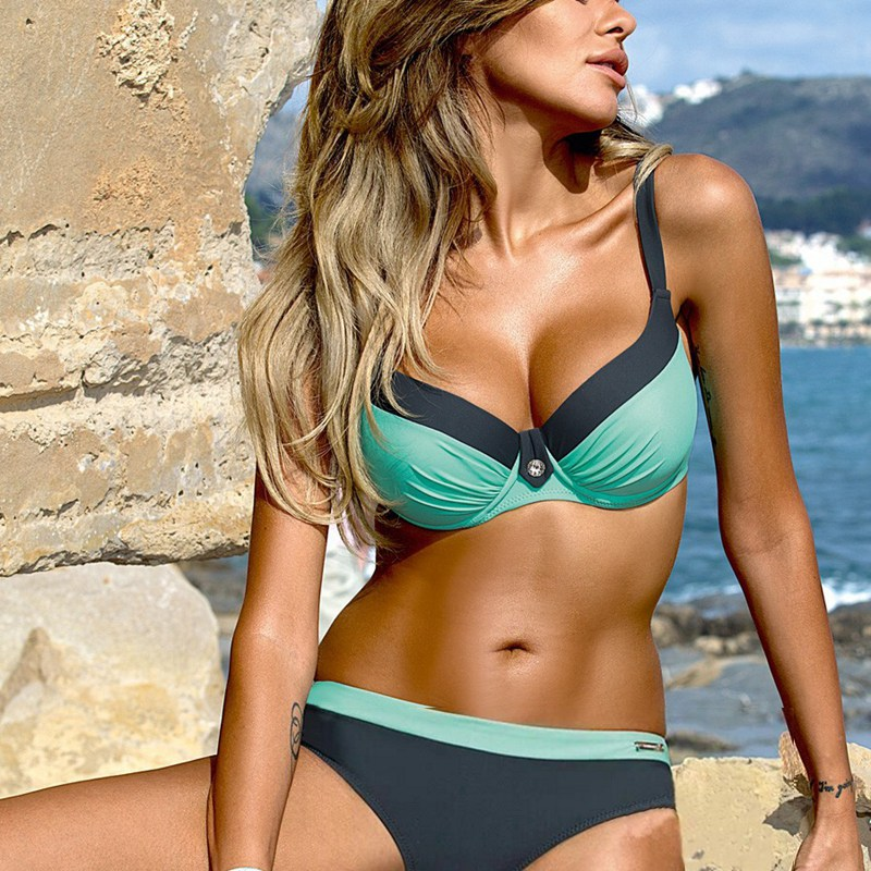 Bikinis Women Swimsuit High Waisted Bathing Suits Swim Halter Top Push Up Bikini Set Plus Size Swimwear Brazilian Bikini