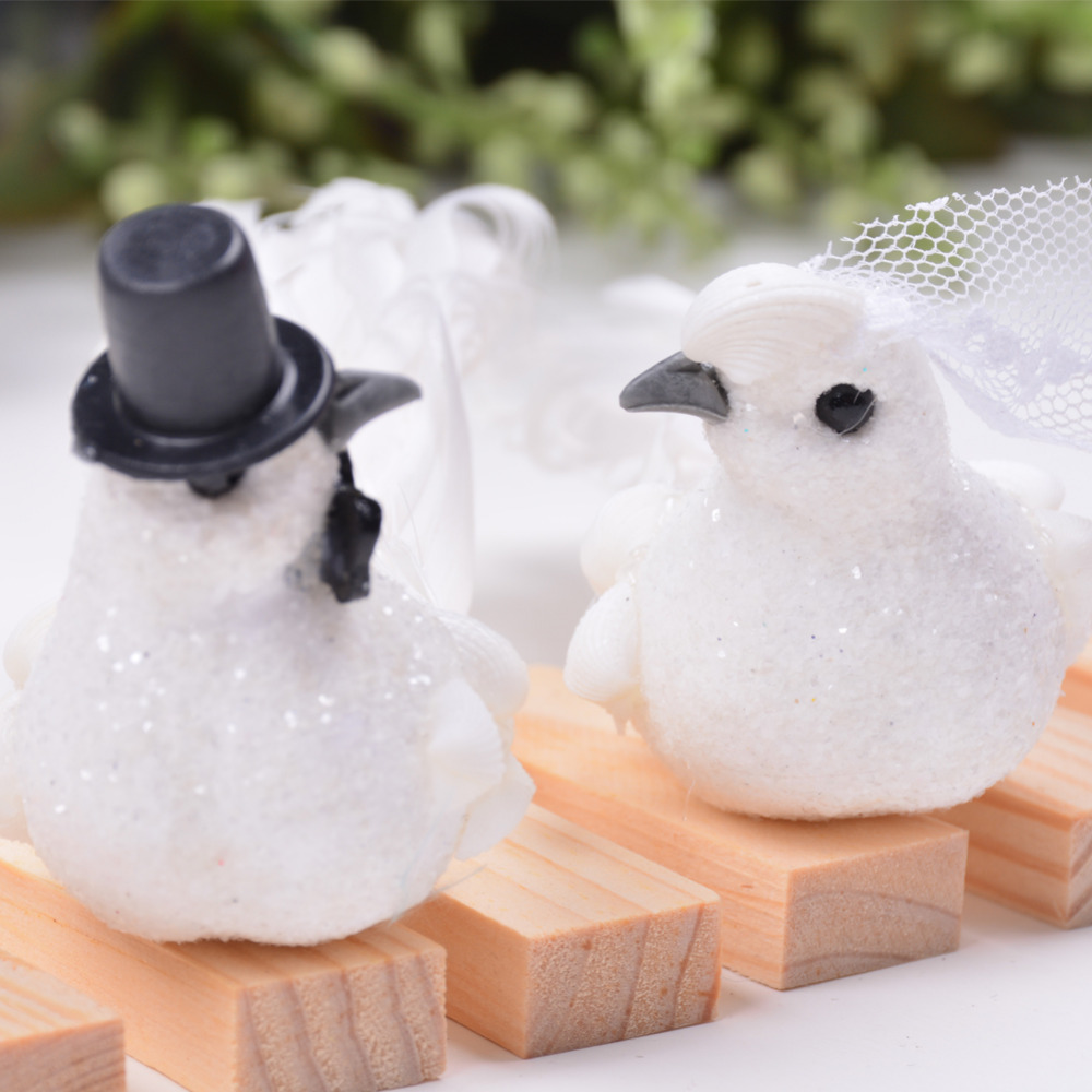 2pcs Glittery Cute Foam White Decorative Dove Coup...