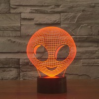 Novetly Nachtlampje 3D Lichten USB Power 7 Kleuren Verbazingwekkende Optische LED Lamp met touch schakelaar Alien Slapen lamp