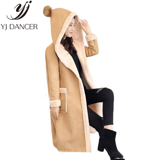 2018 inverno Nova Moda Plus Size Mulheres oversize brasão Slim Com Capuz Grosso Quente Longo L0286 Camurça roupas de Couro casaco Feminino