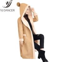 2018 winter New Plus Size Fashion Women oversize Slim Hooded coat Thick Warm Long Deerskin coat Leather clothing Female L0286