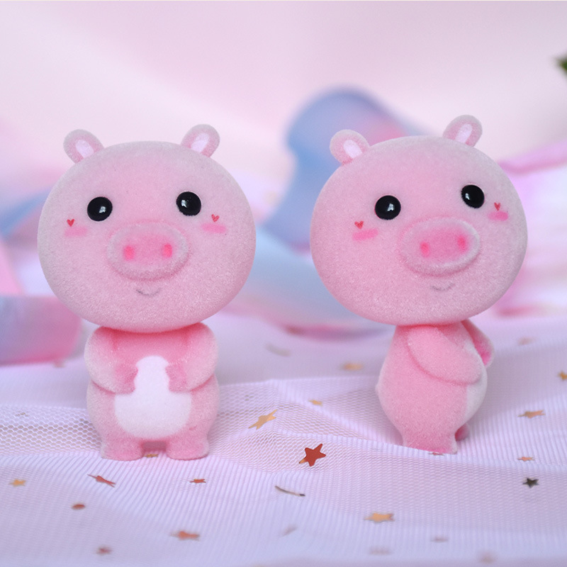 Kawaii Furry Pig PVC Flocking Doll Toys Children Mini Animals Toy Dolls For Kids Christmas Birthday Gift Chinese Zodiac Animal