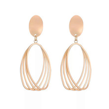 Euramerican fashionable alloy earring suits a woman geometry multilayer stereo and contracted eardrop female T24