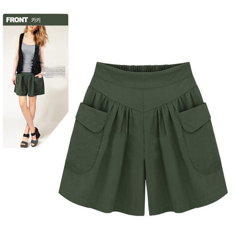 Women Loose Elastic Waist Wide Leg With Pockets Casual Culottes Shorts For Summer FDC99