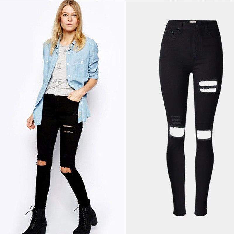 BellFlower Women Ripped Jeans  Beggar jeans Women High Waist Jeans Female Black Slim Pencil Jeans Femme Plus Size 32-44 beggar s feast