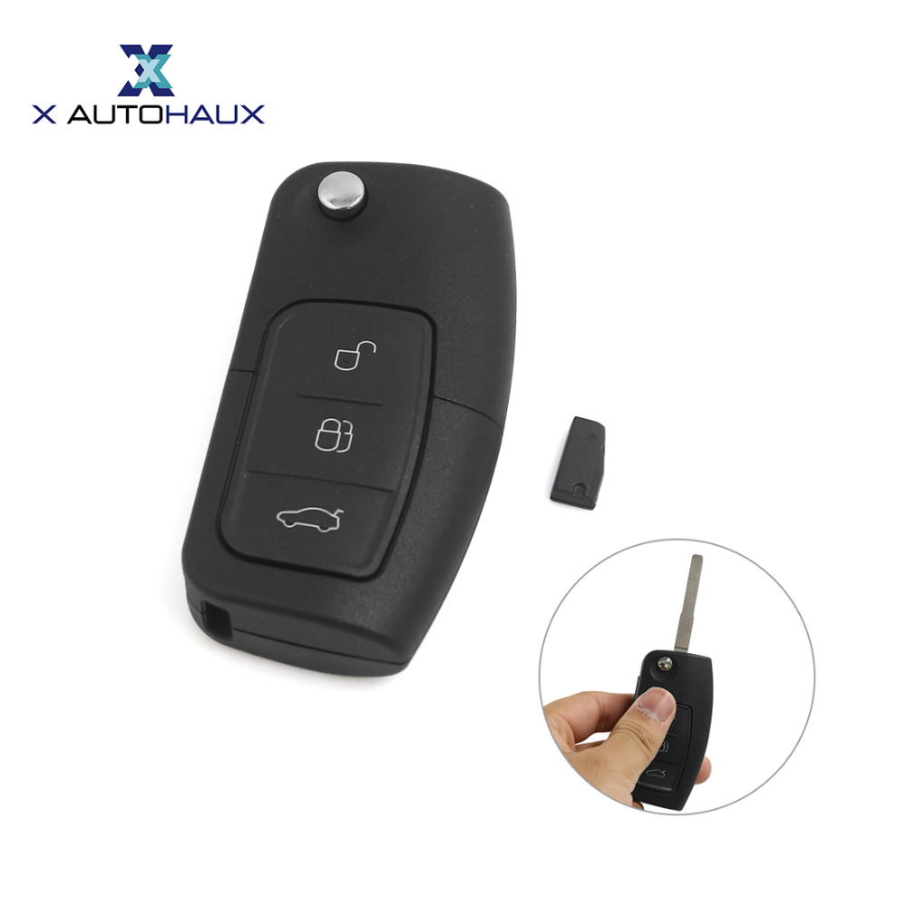 X AUTOHAUX Car Keyless Entry Flip Folding Remote Key Clicker 433MHz 4D63 For Ford Mondeo Galaxy Fiesta C-Max S-Max For Focus