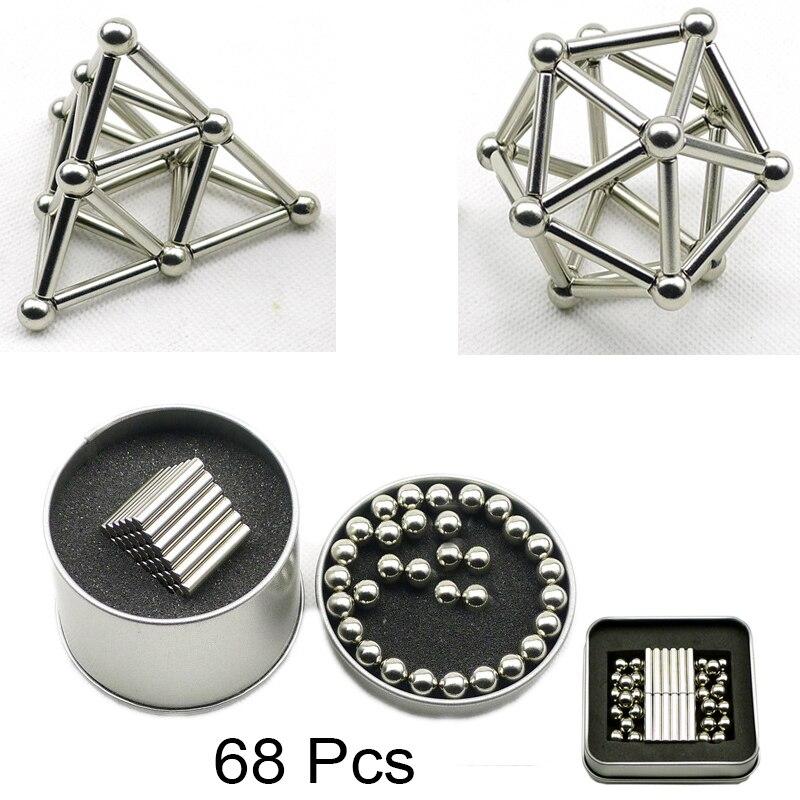 68 Pcs Mini DIY Bausteine Magnet Bau Magnetische Stick und Kugeln Produkt puzzle Spielzeug, gehirn Training und Lernen.