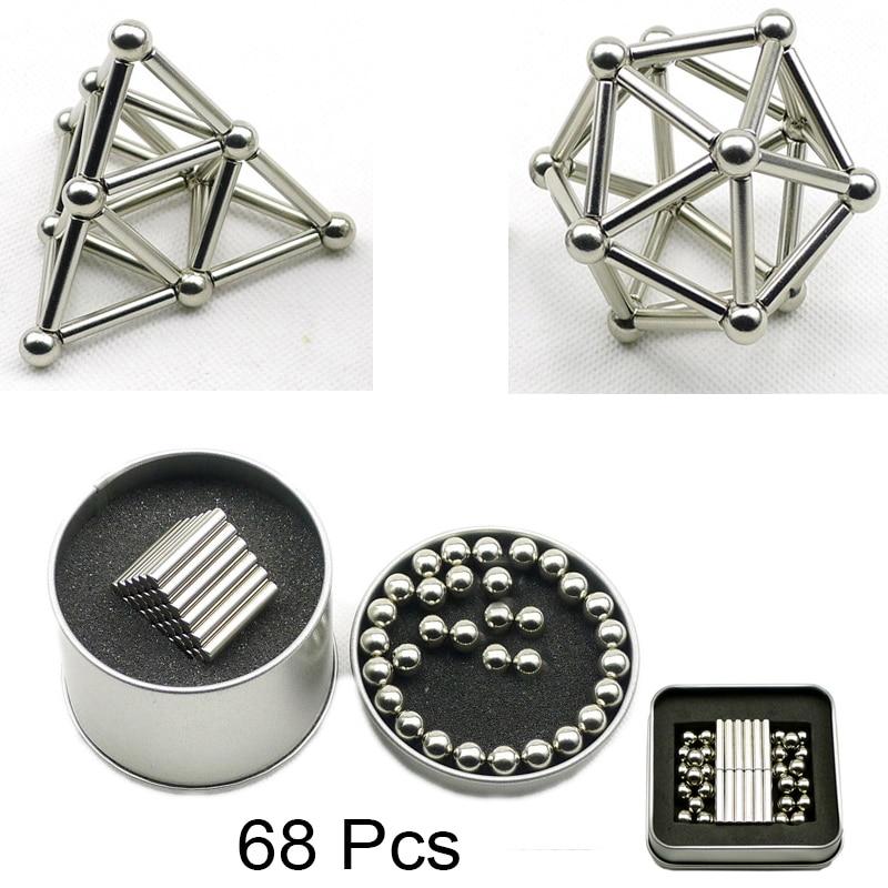 68 piezas Mini DIY bloques de construcción imán construcción palo magnética y bolas de producto rompecabezas juguete cerebro de capacitación y aprendizaje