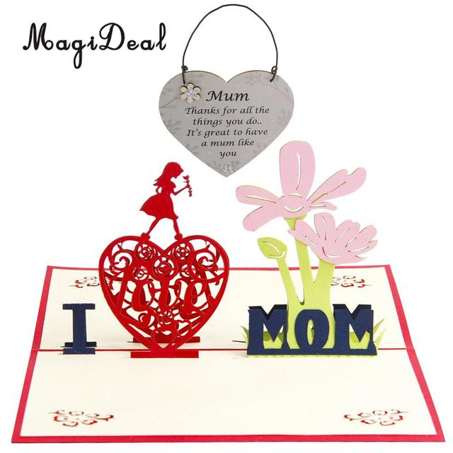Happy Mothers Day Birthday 3D Pop Up Card Greeting Hanging Heart Wooden Plaque Ornaments Thank You Mom Gift