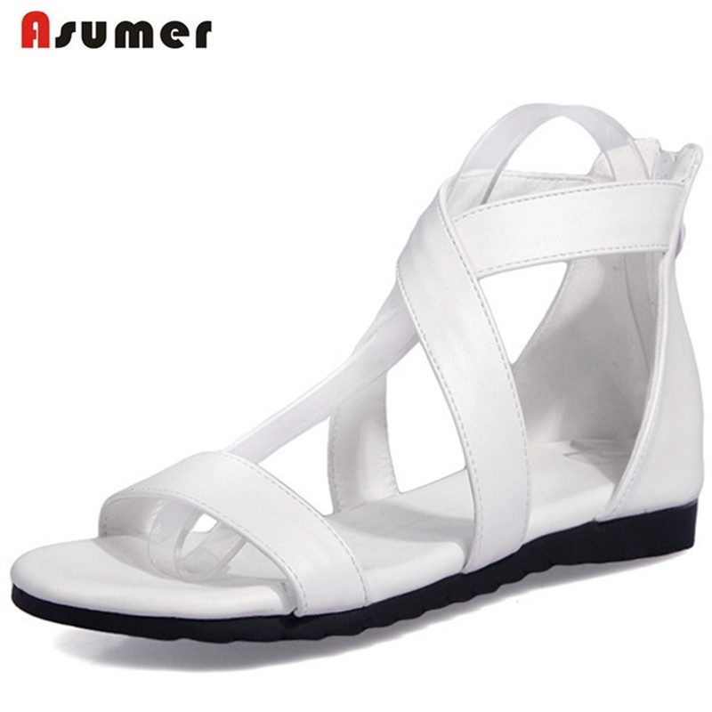 Asumer Zipper fashion summer shoes PU solid heels 1cm fashion shoes open-toed women sandals party play big size 34-43 anmairon shallow leisure striped sandals women flats shoes new big size34 43 pu free shipping fashion hot sale platform sandals
