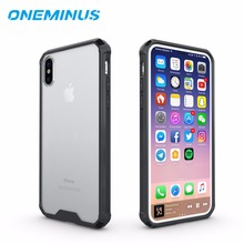 Фотография for Apple iphone X Case OneMinus Transparent ShockProof Armour Case Soft TPU and Acrylic Simple Style Anti-Scratch Cover Cases
