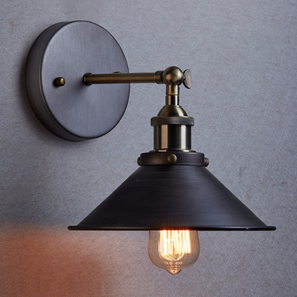 Modern Vintage Loft Adjustable Metal Pendant Light Retro brass wall lamp  country style Sconce Lamp Fixtures Diameter 22 cm - Corded Wall Sconce Reviews - Online Shopping Corded Wall Sconce