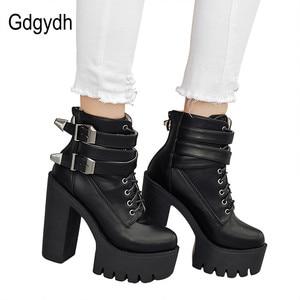 Image 5 - Gdgydh/Модные женские ботинки; Сезон весна осень; Кожаные короткие ботинки на высоком каблуке и платформе с пряжкой на шнуровке; Женская обувь черного цвета; Акция