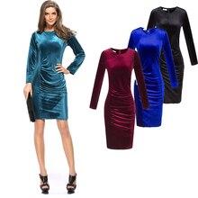 Plus größe elegante dress frauen oansatz langarm mini samt dress 2017 plissee slit solide sexy abendgesellschaft kleider rot