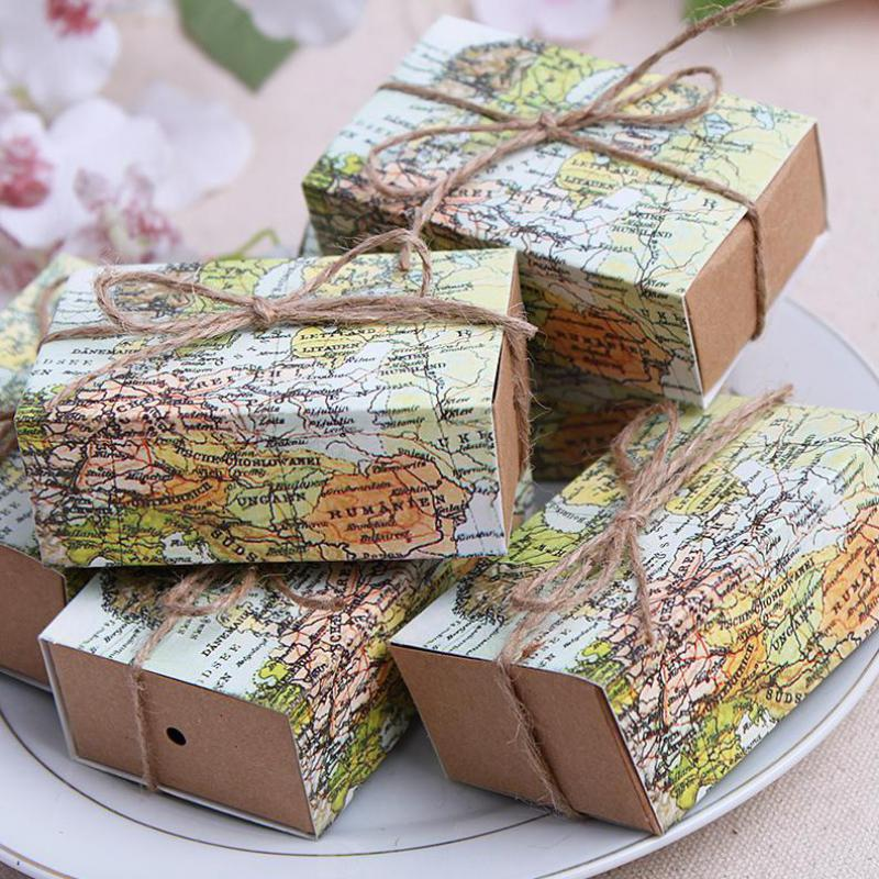 100pcs Novelty World Map Candy Box For Christmas Decorations Kraft Paper Drawer Pull Carton Guests Party Wedding Favors Gifts