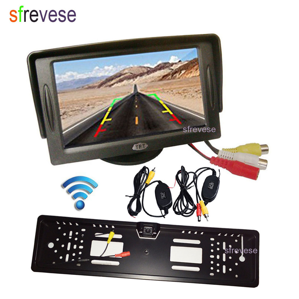 4 3 Car Vehicle LCD Monitor Rear View Kit Wireless Waterproof EU Car License Plate Frame