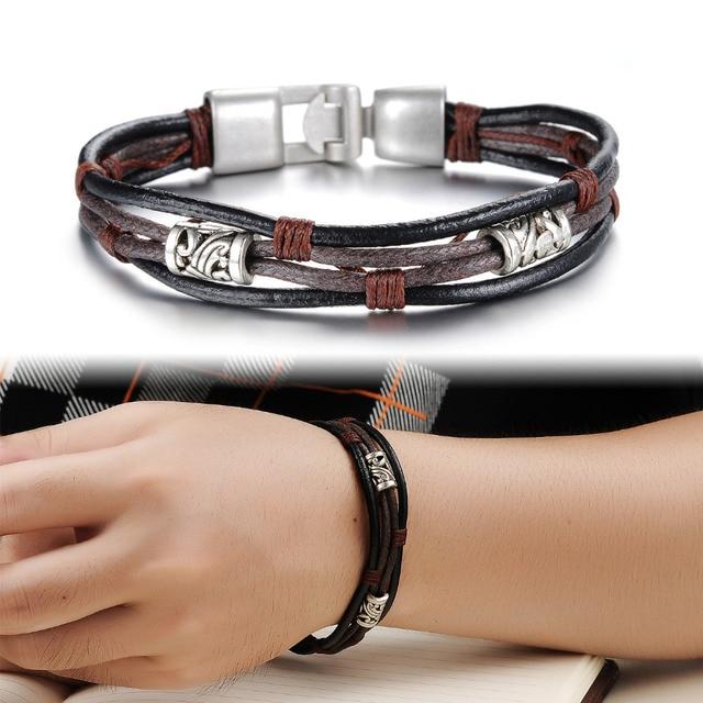 Aliexpress Com Buy Men Jewelry Vintage Leather Bracelet Luxury