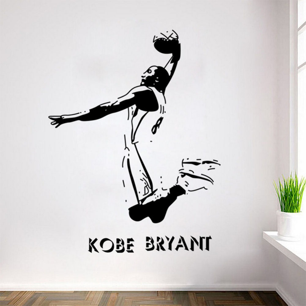 buy kobe bryant poster decal sports wall stickers nba basketball player wall. Black Bedroom Furniture Sets. Home Design Ideas