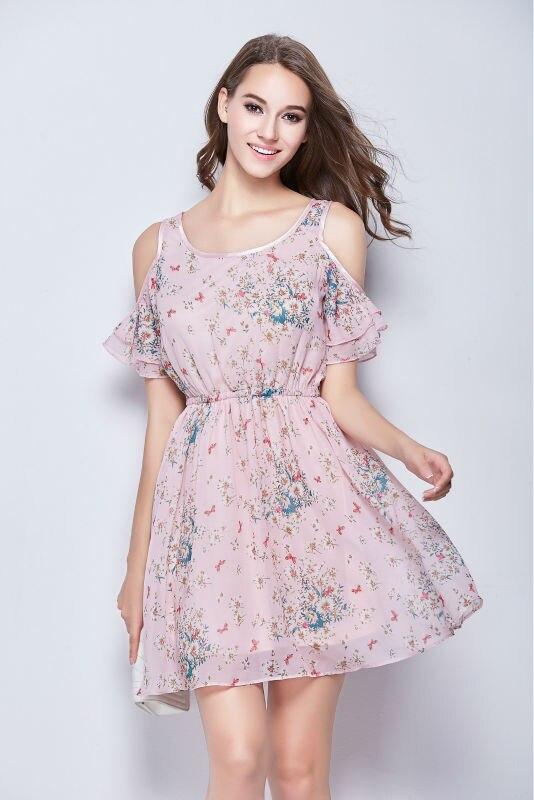 MINSUNDA robe en mousseline de soie femmes été nouveau mignon rose froid épaule Flare manches courtes col rond imprimé fleurs Mini robe