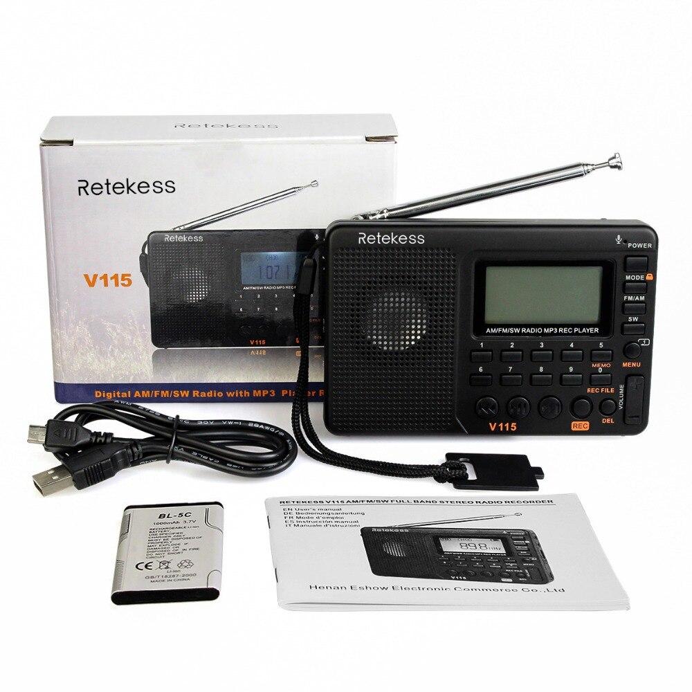 RETEKESS V115 რადიო მიმღები FM AM SW - პორტატული აუდიო და ვიდეო - ფოტო 6