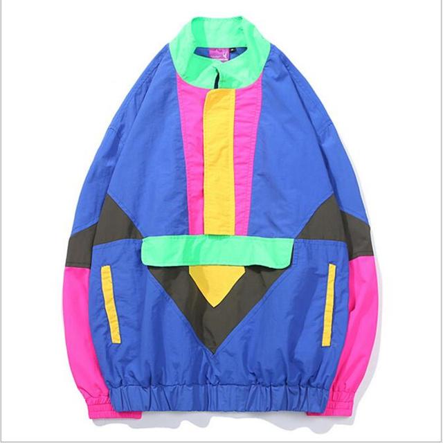 Men Hip Hop Loose Jackets Clothes Fashion Multicolor Color Block Patchwork Windbreaker Jackets Autumn Streetwear Casual