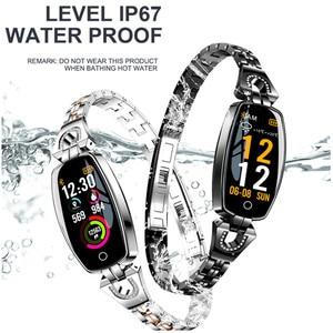 Image 5 - H8 Dames Horloge Slimme Armband Hartslag Bloeddrukmeter Fitness Tracker Stappenteller Waterdicht Stappenteller IOS Android Smartwatch