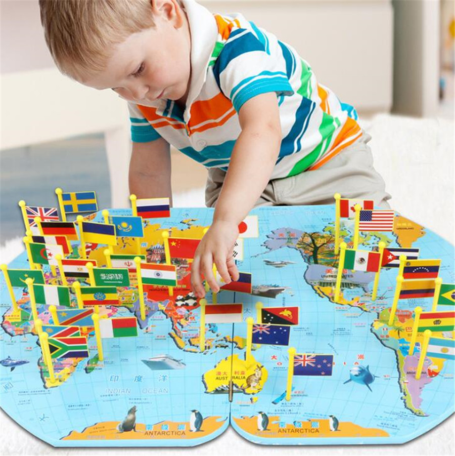 Wooden Puzzle understanding world map child Science and education Learn toy Insert the flag Recognize the country science education
