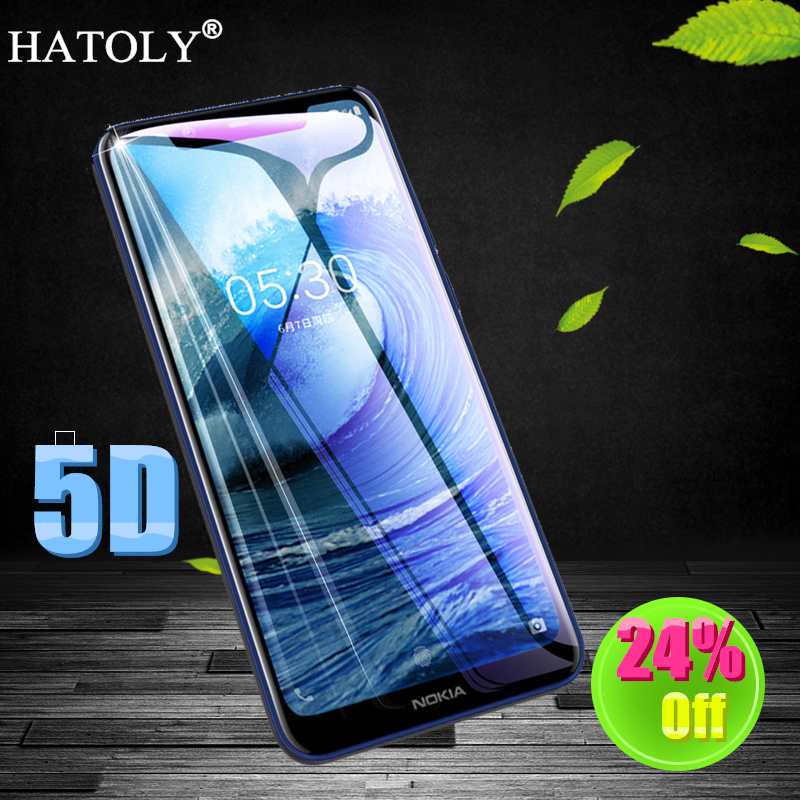 HATOLY 5D Tempered Glass for Nokia 8.1 Screen Protector for Nokia 8.1 TA-1119 Full Glue Cover Film for Nokia 8.1/X7 Glass