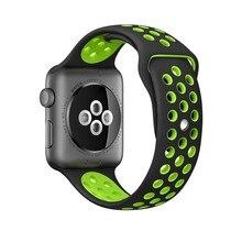 Спортивный ремешок для Apple Watch Nike 42 мм/38 мм wtist браслет 1:1 оригинальный силиконовый ремешок для часов