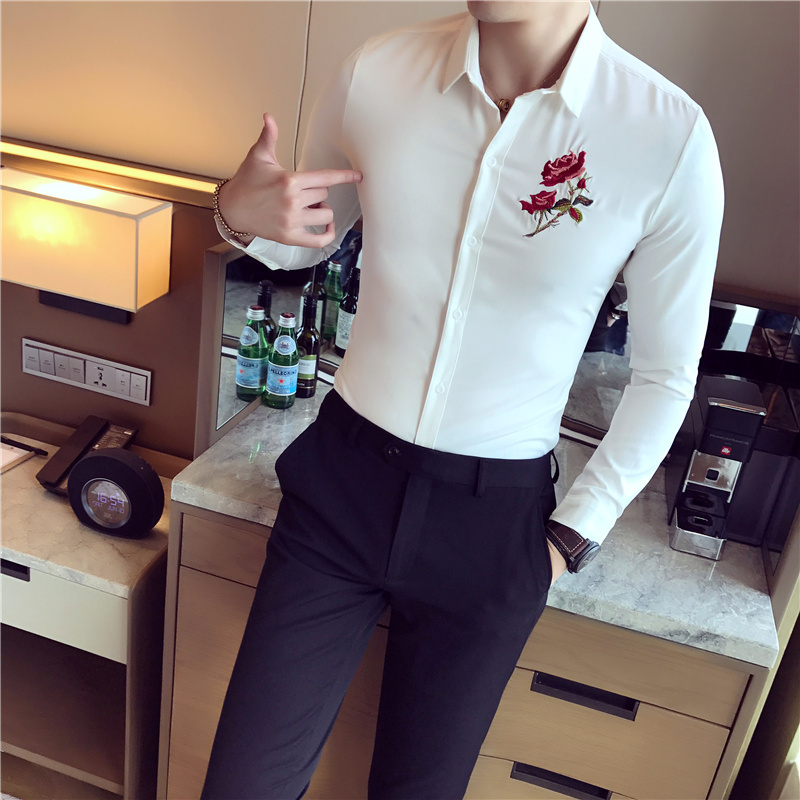 Embroidery Men Business Shirts Long Sleeve Shirt High Quality Casual Slim Fit Men Shirt Black White Male Dress Clothing Camisa
