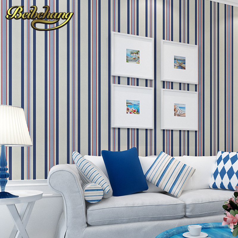 beibehang papel de parede shop for imported non-woven Mediterranean vertical stripes wallpaper bedroom living room small fresh beibehang shop for living room bedroom mediterranean wallpaper stripes wallpaper minimalist vertical stripes flocked wallpaper