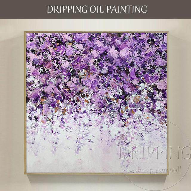 Purple Flower Oil Painting Abstract Wall Art Picture: Free Shipping Hand Painted High Quality Abstract Purple