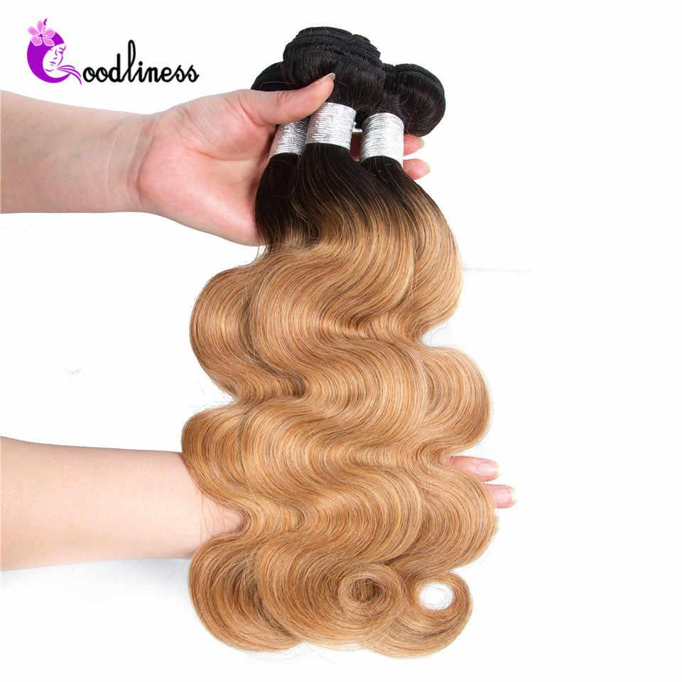 Goodliness Mel Loira Pacotes Com Frontal 1B/27 Remy Brasileiro Cabelo Weave Onda Do Corpo 100% Feixes Ombre cabelo Humano com Frontal