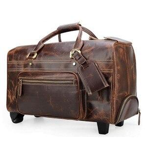 Image 2 - DU LỊCH TÍCH nam da thật chính hãng da cán hành lý xe đẩy bánh xe du lịch trolly túi đi du lịch