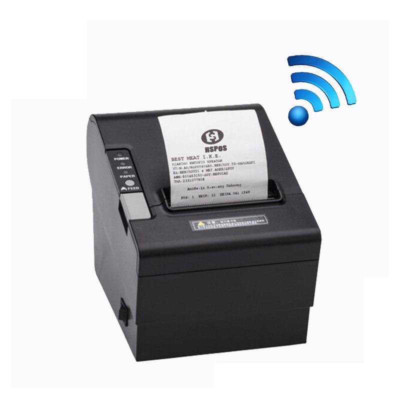 Quality wireless thermal printer 80mm with cutter pos receipt printer wifi usb serial interface bill printing machine