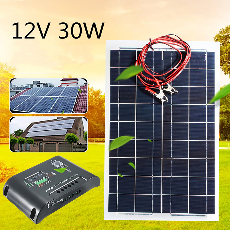 12V Flexible Semi Solar Panel +12V/24V Solar Controller For Car Boat Emergency Lights Solar Systems Solar Module 12v 30w solar panel polycrystalline semi flexible solar battery for car boat emergency lights solar systems solar module page 2
