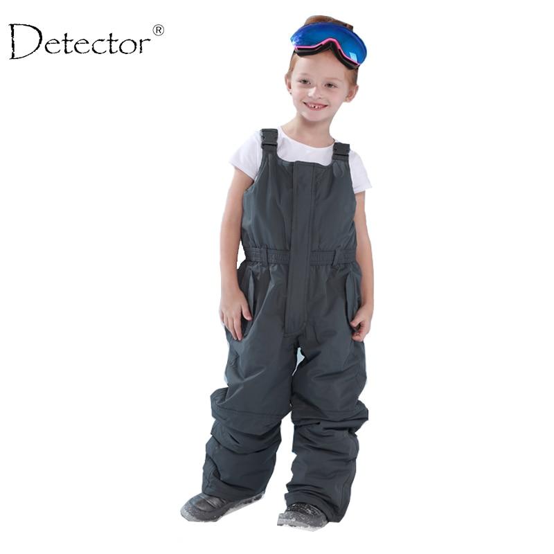 Wykrywacz dzieci na zewnątrz wyściełane spodnie chłopięce i dziewczęce spodnie narciarskie zimowe kombinezon całościowy romper dziewczyna śliniak 92-134