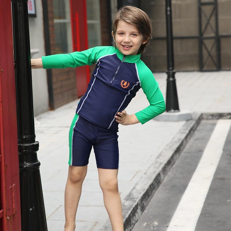 Long Sleeve Swimwears Boys Swimsuits Rash Guards Set T Shirts Swimming Shorts Kids Surfing Sailing Bathing Suits 2018 DBO