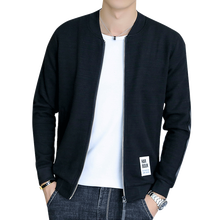 2018 New Arrival Spring large size knit cardigan fashion new mens jacket Zipper Stand collar youth pure color M-4XL 5XL