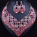 2017 New Circle Statement Necklace Earrings for Women Wedding Accessory Color Crystal Glass African Bridal Jewelry sets