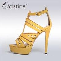 Odetina 2017 New Women 12 CM T Strap Platform Sandals Buckle Extreme High Heel Stilettos Sandals