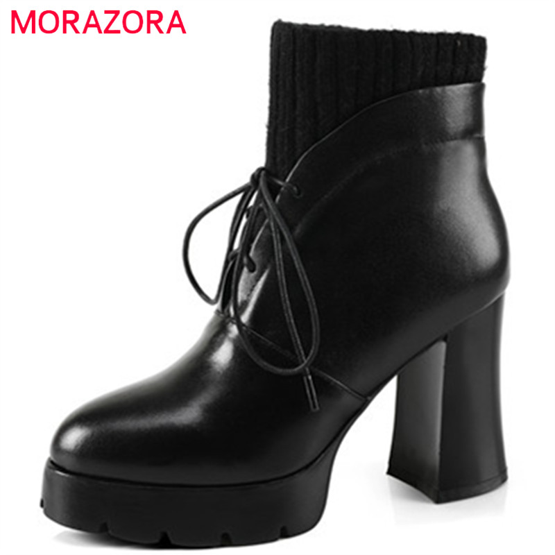 MORAZORA Cow leather boots top quality womens boots in spring autumn high heels shoes ankle boots platform lace-up size 34-40 morazora ankle boots for women fashion shoes woman cow suede leather boots solid zipper platform womens boots size 34 40