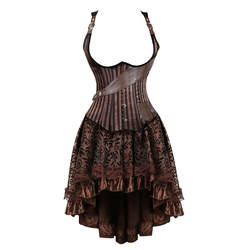 Стимпанк корсет для торса платье Бурлеск Готический Пиратский Корсет Бюстье искусственная кожа юбки набор коричневый Женский Плюс Размер