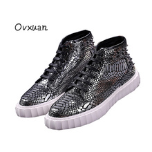 Ovxuan Snake Pattern Leather Male Loafers Rivets Street High Top Sneakers For Men Fashion Chaussure Homme Mens Shoes Casual 2018