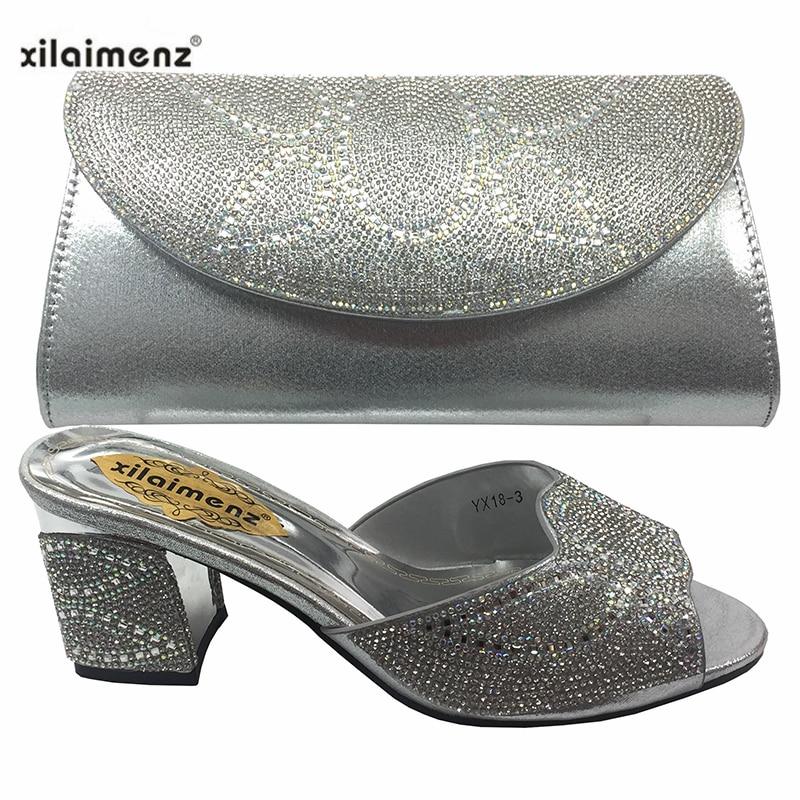 Zapatos Las Con Bolsos Nuevo De gold wine Juego Imitación Decorado A Mujeres Y Black blue silver Africano Bolso Estilo Verano 2019 Diamantes Nigerianas gXwZvqg