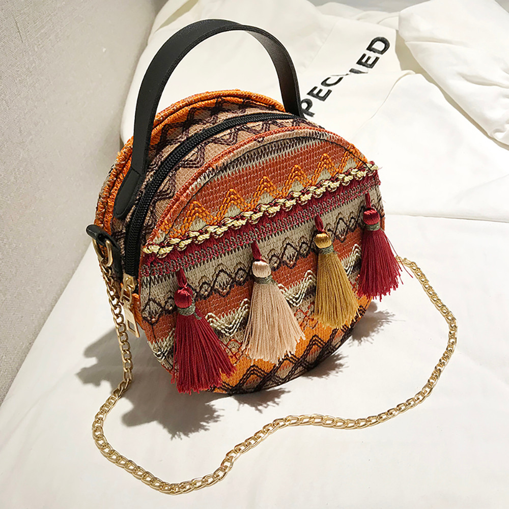 Women Tassel Chain Small Bags national wind round bag packet Lady Fashion Round Shoulder Bag Bolsos Mujer#A02 101
