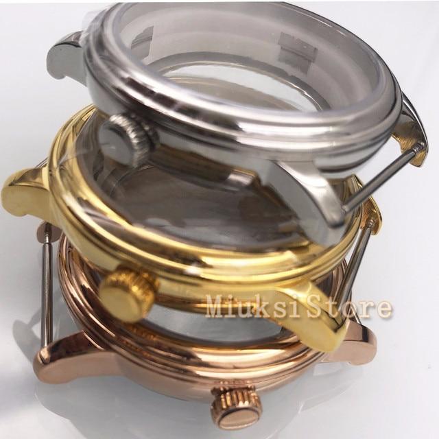 40mm Sapphire glass gold case Watch Case Fit ETA 2836,Miyota 82Series fit parnis mens watch  Movement